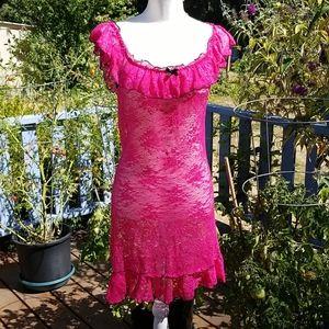 ESCANTÉ Hot Pink Stretch Lace Nighty sz M?